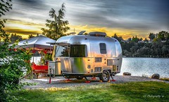 Glamping (Christie : Colour & Light Collection) Tags: camping rvsite rv airstream river glamping summer evening sundown sunset sun trailer gazebo fraserriver rr recreationalvehicle vacay vacation roadtrip bc canada secluded campground hdr picnic relaxing serene peaceful calm happy summerholiday camp scenic shine reflections summertime summerfun