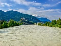 River Inn passing Kufstein with fortress in Tyrol, Austria (UweBKK (α 77 on )) Tags: österreich river inn valley water flow stream fortress landscape mountain kufstein tyrol tirol austria europe europa iphone