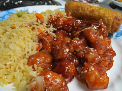 Sesame Chicken And Rice. (dccradio) Tags: lumberton nc northcarolina robesoncounty indoor indoors inside food eat chinesefood sesamechicken eggroll rice friedrice carrots peas onions chicken meal snack supper dinner lunch canon powershot elph 520hs july friday fridaynight summer summertime goodevening fridayevening