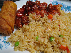 Supper Plate. (dccradio) Tags: lumberton nc northcarolina robesoncounty indoor indoors inside food eat chinesefood sesamechicken eggroll rice friedrice carrots peas onions chicken meal snack supper dinner lunch canon powershot elph 520hs july friday fridaynight summer summertime goodevening fridayevening