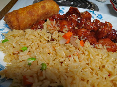 Sesame Chicken, Egg Roll And Rice. (dccradio) Tags: lumberton nc northcarolina robesoncounty indoor indoors inside food eat chinesefood sesamechicken eggroll rice friedrice carrots peas onions chicken meal snack supper dinner lunch canon powershot elph 520hs july friday fridaynight summer summertime goodevening fridayevening