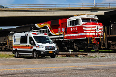 NS 9-1-1 @ Sidney, NY (NYSW2012) Tags: norfolk southern emd sd60e first responder ems emergency medical services ford transit north eastern sidney ny new york train railroad locomotive