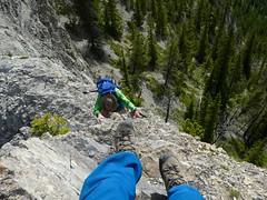Mt. Baldy Summer Scramble - Larry about to start the downclimb (benlarhome) Tags: kananaskis alberta canada mtbaldy scramble scrambling hike hiking trek trail path