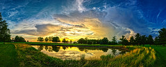 The 11th Hole (Gregg Kiesewetter) Tags: sunset cloudsstormssunsetssunrises storms clouds weather weatherphotography illinoisstateuniversity daweibringgolfcourse hdr aurorahdr2018 panoramic hugin reflection water