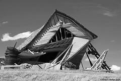 Help Me... I Think I'm Falling... (walkerross42) Tags: skeen school abandoned collapse junk farm equipment ruin palouse washington distorted blackandwhite monochrome rustyandcrusty