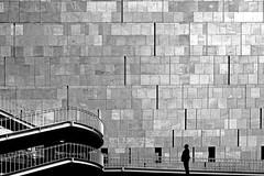 Monolith (heinzkren) Tags: schwarzweis blackandwhite biancoetnero noiretblanc monochrome urban architecture architektur wien vienna austria wall wand stone stein basalt basaltlava mumok museum modern art stiftungludwig pattern contempory monument composing texture canon powershot geländer railing stairs treppe man silhouette building gebäude