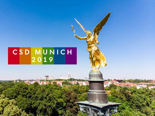 """Der Friedensengel in München, neben dem Titel """"CSD München 2019"""""""