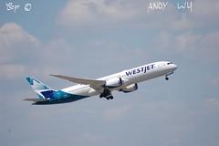 Boeing 787-9 Westjet (Starkillerspotter) Tags: canada calgary westjet boeing 7879 dreamliner paris cdg airport takeoff sky clouds