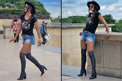 First Spanish model in short jeans and otk boots (pivapao's citylife flavors) Tags: paris france trocadero girl beauties fashion