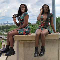 Very low-cut black girl (pivapao's citylife flavors) Tags: paris france trocadero girl stitched