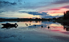 Back to Flickr... :-) (L.Lahtinen (nature photography)) Tags: finland summer lake sunset cold boat reflections