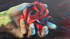In the name of the Rose (Airborne Mark) Tags: origamiart origami origamirose kawasakirose airbornemark streetart