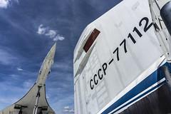 Tupolev TU-144 Tail and Concorde (Chickenhawk72) Tags: technik museum sinsheim germany tupolev tu144 russsia supersonic aircraft canard blue sky airplane cccp aeroflot 72112 concordski tail concorde