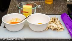 Preparation for Hollandaise sauce (garydlum) Tags: butter dijonmustard eggs hotsauce lemonjuice mushrooms canberra australiancapitalterritory australia