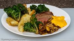 MEATER made rump roast, Hollandaise sauce, and vegetables (garydlum) Tags: beef cauliflower hollandaisesauce kalesprouts mushrooms rump canberra australiancapitalterritory australia