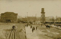 Going Into the Mills to Work, circa 1908 - Gary, Indiana (Shook Photos) Tags: postcard postcards rppc realphotopostcard realphotopostcards mill mills steelmill steelmills business industry manufacturing factory men labor laborer laborers worker workers employees watertower smokestacks garyindiana gary indiana lakecounty