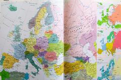 Europe on Paper (see large) (herman hengelo) Tags: picofpaper smileonsaturday europeonpaper degrotebosatlas maps