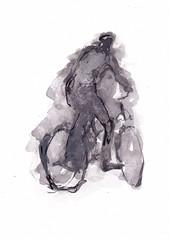 Au vélo [20190619]-4 (rodneyvdb) Tags: art bicycle bike biker bicyclette blackandwhite bw drawing fiets fietser illustration ink painting vélo vivelevélo