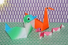 Carnival of the Animals (oddbodd13) Tags: smileonsaturday picofpaper origami paper duck swan snake sun googlyeyes wigglyeyes colourful