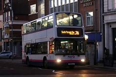T849 LLC, Commercial Road, Portsmouth, November 28th 2016 (Southsea_Matt) Tags: t849llc 32849 route7a first hantsdorset plaxton president dennis trident commercialroad portsmouth hampshire england unitedkingdom november 2016 autumn canon 80d bus omnibus transport night
