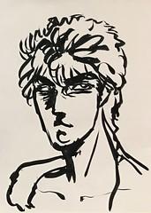 Character 2 (sjrankin) Tags: 13july2019 edited art sketch penandink ink artbynaomi portrait grayscale