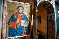 Icon in the old church. Christ teaching.