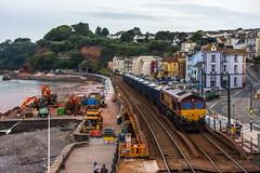 Sunday Freight. (Teignstu) Tags: dawlish devon seawall railway ews class66 66003 stent freight