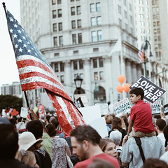 Untitled (reinfected) Tags: new york city street candid manhattan nyc ny people person outside buildings america flag protest child immigration foley square vigil lights for liberty