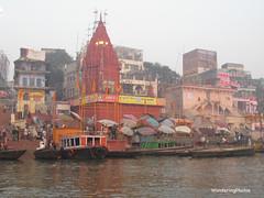 Umbrellas on the Bathing Ghats from the River Ganges - Varanasi India (WanderingPJB) Tags: india umbrella varanasi flickruploaded uttarpradesh bathingghats riverganges