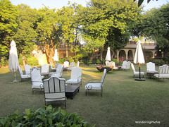 Grounds of the Rohetgarh Hotel with closed umbrellas for the night - Rohet Rajasthan India (WanderingPJB) Tags: flickruploaded umbrella grounds rohetgarhhotel rohet rajasthan india