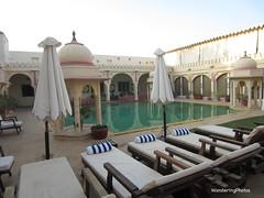 Pool area with umbrellas - Rohetgarh Hotel - Rohet Rajasthan India (WanderingPJB) Tags: flickruploaded umbrella grounds rohetgarhhotel rohet rajasthan india