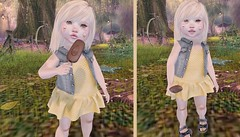 L.O.T.D 07.13.19 (Emery/Teagan Parker) Tags: lulabelle confettiposes colormecute olive ash saturdaysale izzies skinnedknees icecream storeybrookegardens dress jeanjacket summer cute adorable