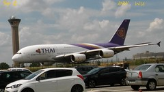 Airbus A380 Thai Airways P2 (Starkillerspotter) Tags: taxiing parking maison de lenvironnement paris cdg airport airbus a380 cars departure control tower t1