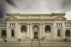 Apple Store Carnegie Library Exterior (jtgfoto) Tags: washingtondc sonyimages sonyalpha applestore carnegielibrary architecturalphotography architecture architecturephotography rokinon12mm rokinon apple exterior building wideanglephotography wideangle moody stormy clouds sky