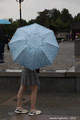 Pale blue & spotted umbrella - Great Wild Goose Pagoda - Xi'An Shaanxi China (WanderingPJB) Tags: flickruploaded umbrella