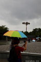 Multicoloured umbrella in the rain - Great Wild Goose Pagoda - Xi'An Shaanxi China (WanderingPJB) Tags: flickruploaded umbrella
