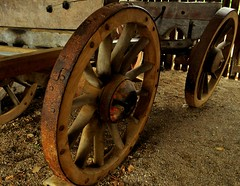 Big Wheels Keep On Turning (Maria .... on here to learn and be inspired.) Tags: iron wood textures old card working farms curves rust