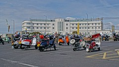 Scooters in front of the Midland Hotel, Morecambe Scooter Rally 2019 (Gidzy) Tags: morecambe firstkick scooters scooterists lancashire vespaclubofgreatbritain morecamberidesagain 2019 vespa lambretta vintage summer seaside coast retro sony sonyuser sonyalpha sonya77ii sonyslt