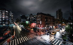 17th Street and 10th Ave (onefivefour) Tags: nyc newyork night nighttime street chelsea cloudy manhattan dark