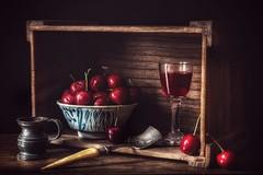 Still Life With Cherries (memoryweaver) Tags: pewter bowl memoryweaver shadow sighting lifting dramatic crate ricebowl cherries stylised texture hdr paintingeffect oldmaster chiaroscuro stilllife