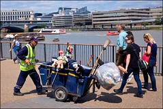 Toy Story 5 - DSCF3028a (normko) Tags: london bankside toy story 5 rubbish cart worker bin cleaner thames river