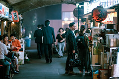 Yakitori Alley (Jon Siegel) Tags: nikon d810 135mm f2dc 135mmf2dc lanterns alleyway people tokyo japan japanese yurakucho dining restaurants bars