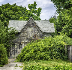 old barn (jsleighton) Tags: gray barn old summer path fence beacon ny
