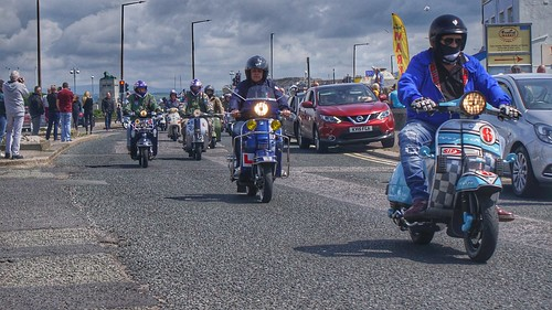 Scooterist riding to the Platform,Morecambe Scooter Rally 2019