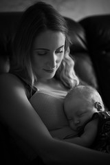 Mother Love (Stuart_Byles) Tags: mum mother newborn girl child beautiful baby blackwhite bw look adoring