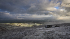 In memory of a memorial bench (Malajusted1) Tags: weets hill craven barnoldswick lancashire pendle farmland winter clouds sunrise cloud inversion mist fog bench viewpoint morning snow dawn first light widdop gisburn