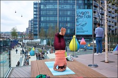 Turning Tides - DSCF3165a (normko) Tags: london north greenwich thetide river thames walkway walk path art yoga headstand