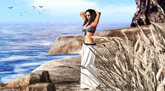 I will love you as the sea loves. In gentle waves and in ferocious storms~ N. Frederickson (Alexa Maravilla/Spunknbrains) Tags: secondlife sl digitalphotography virtualworld 3dmesh hair fashion photography fameshed tlc theliaisoncollaborative beach studioskye legalinsanity phoenixhair pebble rock ocean sea model sexy woman