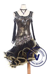 Black Golden Rose Sequin Woman Latin Rhythm Salsa ballroom Competition Dance Dress (Venus Dancewear) Tags: ballroomdress ballroomdancedress latindress dancewear venus latin dresses ballroom dance dress