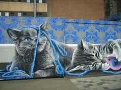 Cats and Wool (cessna152towser) Tags: cat mural glasgow